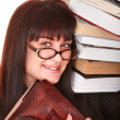 Clever girl in spectacles with group book. — Stock Photo