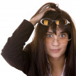 Comic woman in two spectacles. — Stock Photo #3320251