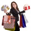 Business woman with money, gift box and bag. — Stock Photo #3320506