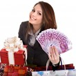 Girl in business suit with money euro, gift box, bag. - Stock Photo