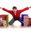 Cheerful funny  happy shopping man. — Stockfoto