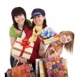 Royalty-Free Stock Photo: Three beautiful girlfriends enjoy shopping.