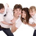 šťastné rodiny matka, otec, dcera a syn — Stock fotografie