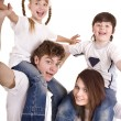 Стоковое фото: Happy family with children. Care child.
