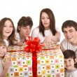 Happy family with gift box. — Foto de Stock