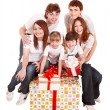 Happy family with big gift box. — 图库照片