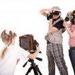 Happy family with three camera. — Foto Stock