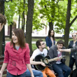 Постер, плакат: Group of student on weekend Music