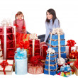 Happy family mother and child and group gift box. — Stok fotoğraf #3320956