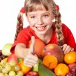 Child girl with group of fruit. — Stock Photo