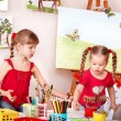 Children painting pencil in preschool. — Stock Photo
