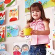 Child paint picture in preschool. — Stock Photo #3321178