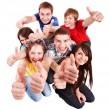 Group with thumbs up. — Stock Photo