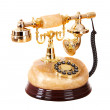 Old gold telephone from onyx. — Stock Photo