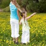 Children in field with flower. — Stock Photo