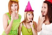 Group girl on birthday eat chocolate cake. Isolated. — Stock Photo