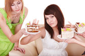 Girl refuse to eat cake. — Stock Photo