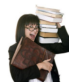 Clever girl with heap book. Isolated. — Stock Photo