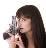 Character woman with gun.Problem. — Stock Photo
