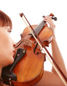 Aggressive young girl with fiddle. — Stock Photo