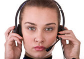 Business operator woman support customer. — Stock Photo