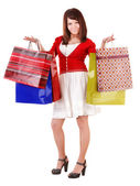 Menina compra com saco de grupo. — Foto Stock