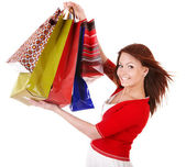 Vacker flicka med shopping väska. — Stockfoto