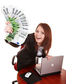 Businesswomen with group of money and laptop. — Stock Photo