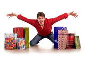 Cheerful funny happy shopping man. — Stock Photo
