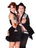 Pár muž a dívka s vínem tanec. — Stock fotografie
