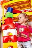 Child play block and construction set in playroom. — Stock Photo