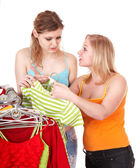 Young woman in clothing shop — Stock Photo