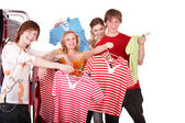 Group in clothing shop. — Stock Photo