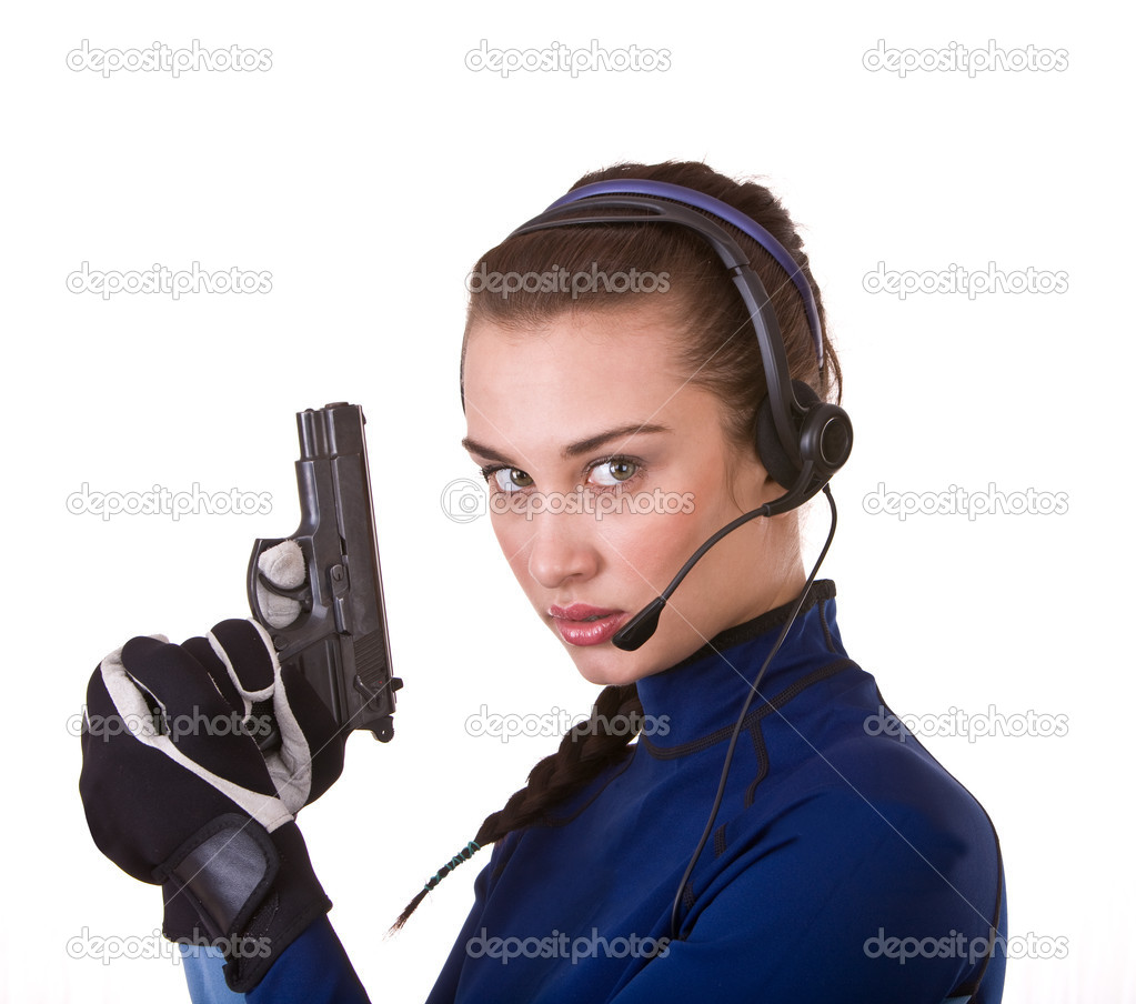 Woman with gun support customer. Concept.  Stock Photo #3320344