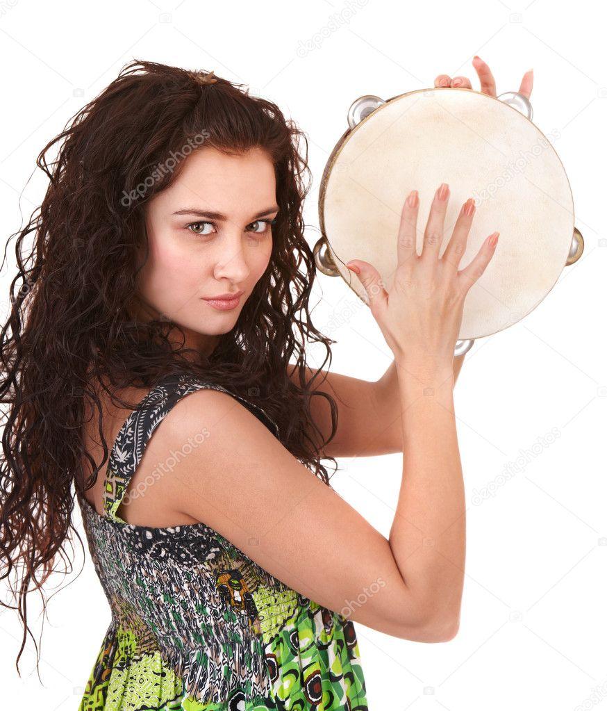 beautiful girl with music instrument stock photo