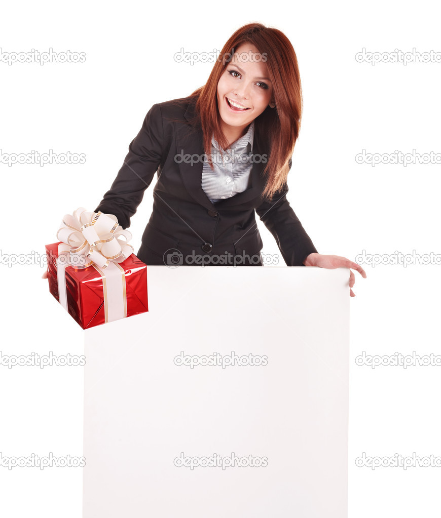 Business woman with gift box, banner. Isolated.  Stock Photo #3320518