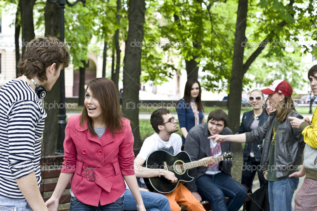 Group of student on weekend. Music. Problem  Stock Photo #3320834
