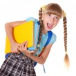 Schoolgirl holding pile of books. - Stock Photo
