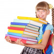 Schoolgirl holding pile of books. — Stock Photo #3584632