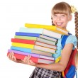 Stock Photo: Schoolgirl holding pile of books.