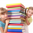 Royalty-Free Stock Photo: Children reading stack of book.