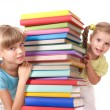 Children reading stack of book. — Stock Photo #3584920