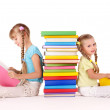 Children reading stack of book. — Stock Photo