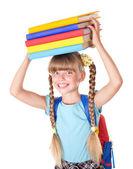 Studentessa con zaino, tenuta libri. — Foto Stock