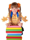 Pila de explotación chica de libros. — Foto de Stock