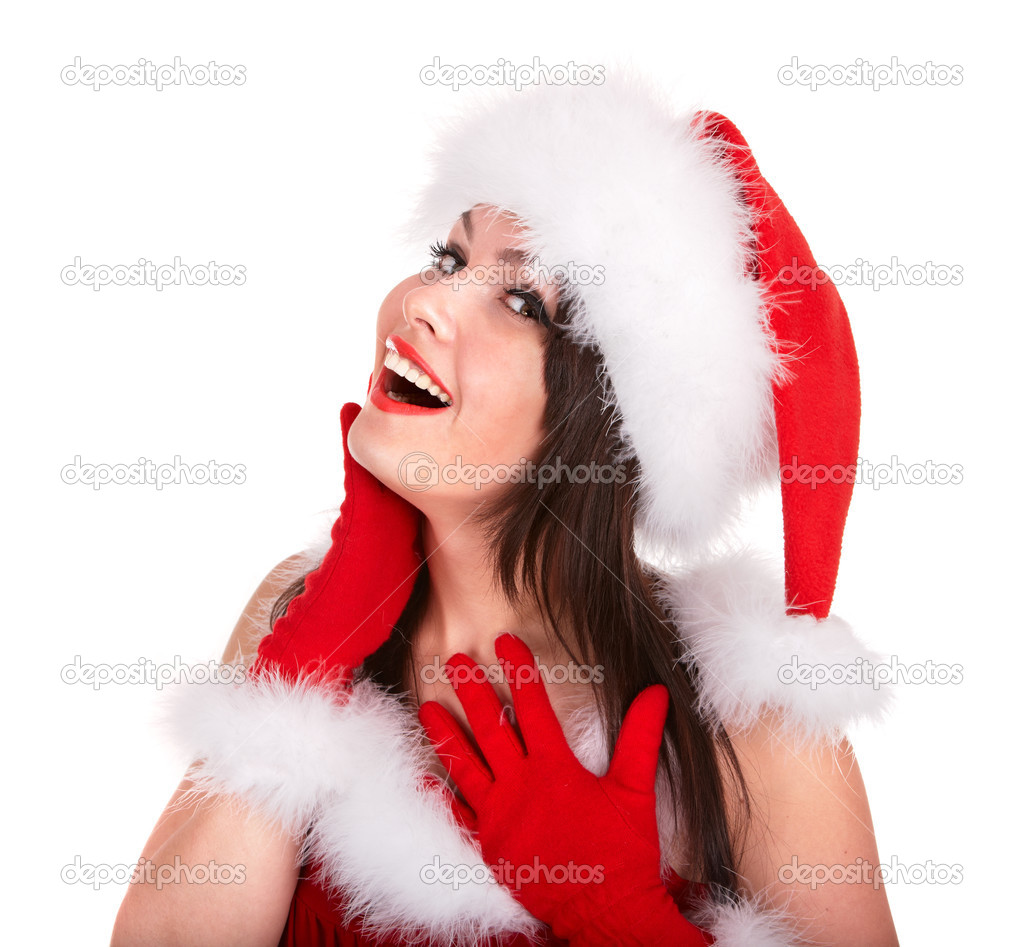 Christmas girl in santa hat. Isolated. — Stock Photo #3584445