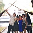 Stock Photo: Group of with broomstick and halloween witch costume.