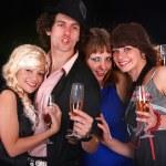 Group drink wine. Black background. — Stock Photo