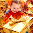 Child girl in autumn orange leaf and gift box. — Stock Photo