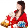 Beautiful girl with group of gift box. — Stock Photo #3900707